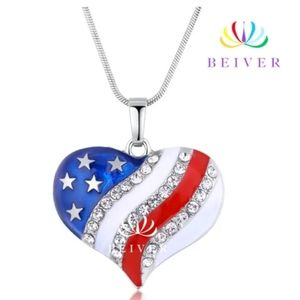 Luxury U.S.A. White Gold Plated Flag Necklace